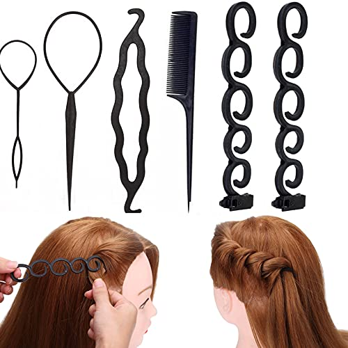 Hair Braiding Tool Roller, 6Pcs Hair French Braiding Tools for Women With Hook, Easy Twist Plait Styling Bun Maker
