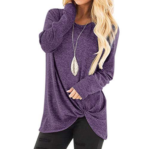 iHENGH Damen Herbst Winter Bequem Lässig Mode Frauenmode Lose Langarm Oansatz Lässige Solid T Shirt Bluse Tops(M,Lila)
