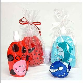 Botella Infantil Animales con Mochila Plegable a Juego.Lote 6 Unidades. Decorada con Lazo