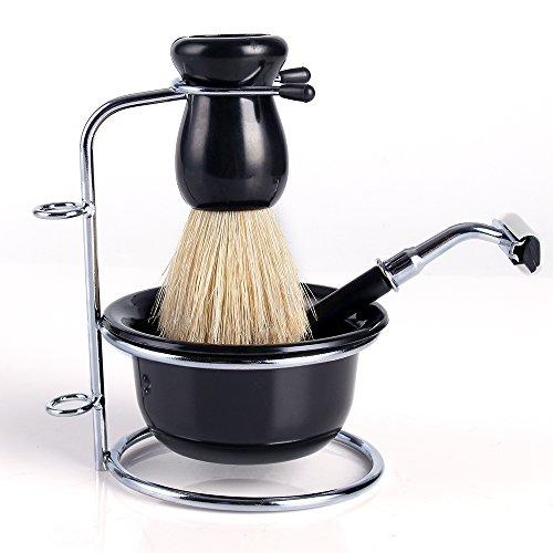 Neverland 4 en 1 Ensemble de Brosse Rasage Baireau Rasoir Homme Badger Hair Shaving Brush avec Noir Bol et Support et en Acier Inoxydable Cadeau de Fête des pères