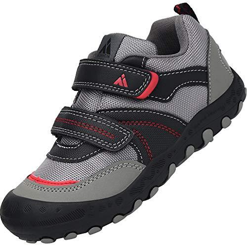 Mishansha Jungenschuhe Kinder Hallenschuhe Trekking- & Wanderhalbschuhe, Sportschuhe mit Klettverschluss Outdoor Walkingschuhe Grau Schwarz, Gr.33 EU