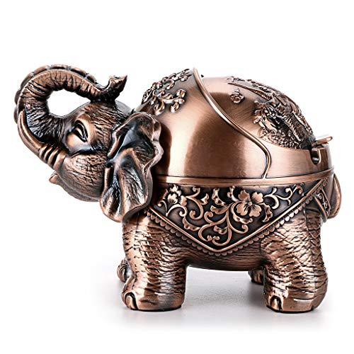 Hipiwe Elephant Windproof Ashtray with Lid, Desktop Metal Cigarette Ashtray Holder for...