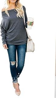 女性オフショルダートップ、ロングスリーブソリッドカラーカジュアルルーズTシャツブラウスタンクトップ