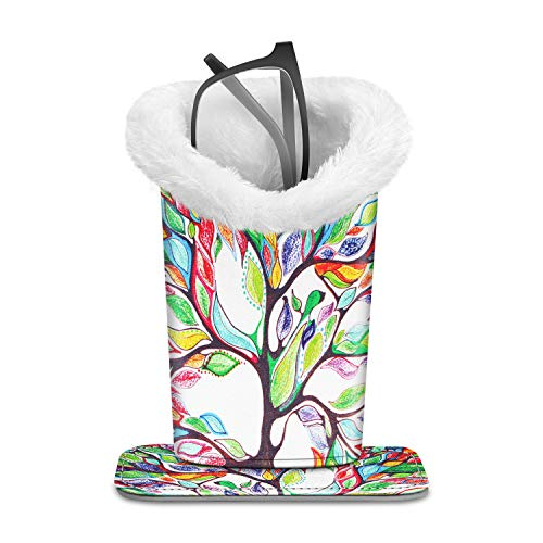 Fintie Plush Lined Eyeglasses Holder with Magnetic Base- PU Leather Glasses Stand Case (Z-Love Tree)