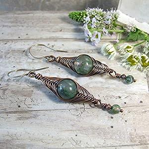 Green Moss Agate Copper Wire Wrapped Boho Dangle Earrings