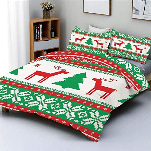 Duvet Cover Set,Knit Style Graphic Reindeer Star Snowflake Holiday Family DecorDecorative 3 Piece Bedding Set with 2 Pillow Sham,Red Green White,Best Gift for Kids & Adult Easy Care Anti-All