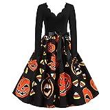 Sommerkleid Knielang Kinderkleiderschrank Halloween Kostüm Langes Kleid Damen Sommer Strandkleider Halloween Schminke Prinzessin Kleid Damen Festliches Kleid Mädchen Halloween(B-Schwarz,L)