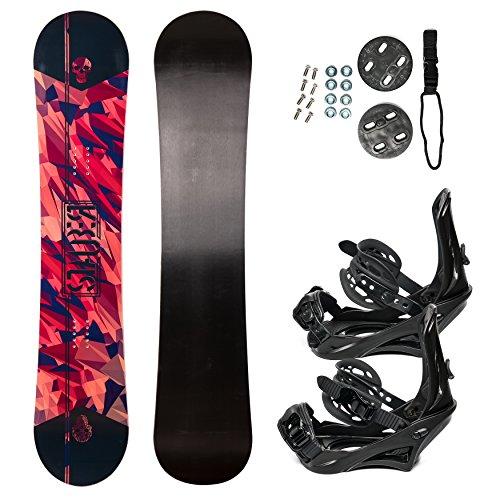 STAUBER Summit Snowboard Package (Gloss) Comes in Paired w. Bindings Snowboard Travel Bag on Wheels (Gloss w. No Bag, 148cm w. Medium Bindings)