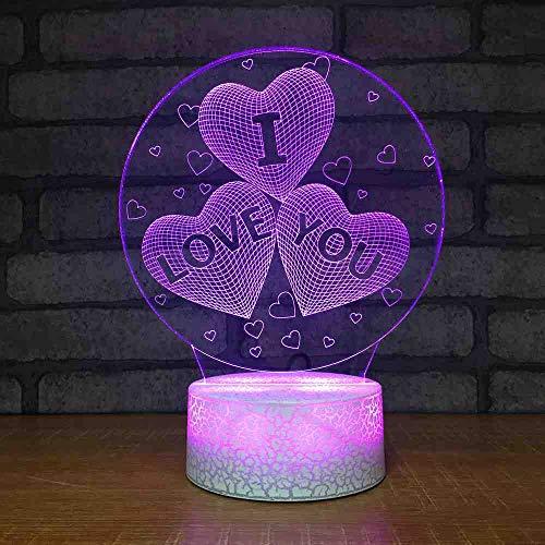 MCJDF kleurrijke slaapkamer usb Home Decor 3D LED Ti amo tafellamp in hartvorm Creative Nightlight San Valentino