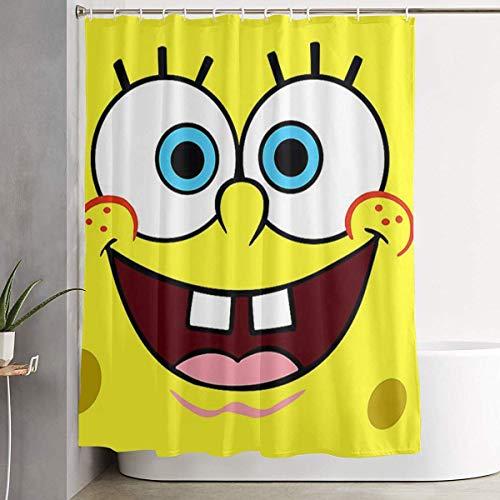 ChenZhuang Duschvorhang Spongebob Kunstdruck, Polyester Stoff Badezimmer Dekorationen Kollektion mit Haken - 60 x 72 Zoll