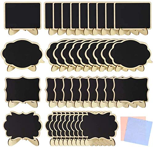 """40 Pack 4""""x3"""",Mini Chalkboard Signs with Stand,Stand Wooden Blackboard for Buffet Food Signs, Wedding Signs,Message Board Signs,Place Cards or Event Decoration"""