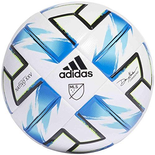 adidas  MLS Nativo XXV League Soccer Ball  White/Samba Blue/Solar Green/Black  5