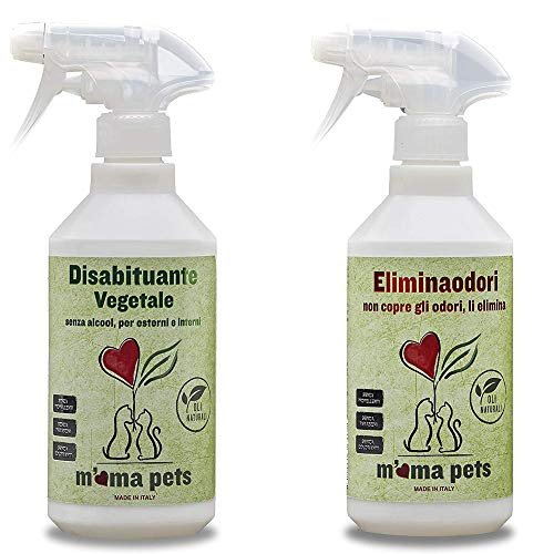 M Ma Pets Kit disabituante vegetale e Spray eliminaodori per Cani e Gatti 2x500ml - 1000 ml