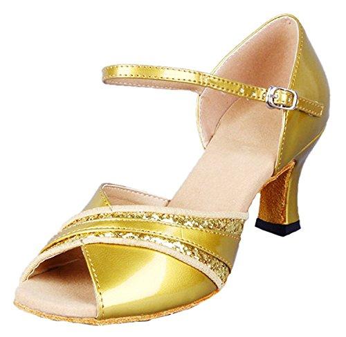 Honeystore Damen's Peep Toe Mittelhohem Absatz Latein Tanzschuhe Gold 37 EU