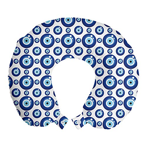 Ambesonne Evil Eye Travel Pillow Neck Rest, Symmetrical Pattern All Seeing Eye Superstitious Turkish Ethnic, Memory Foam Traveling Accessory for Airplane and Car, 12', White Blue