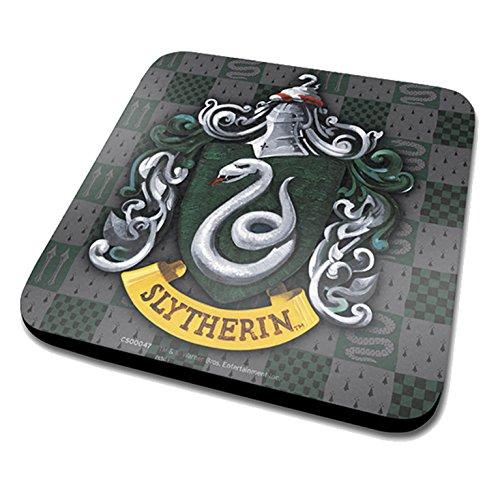 Harry Potter Slytherin-Wappen Offizieller Getränke-Untersetzer mit Melamin-Bezug mit Korkboden, Mehrfarbig, 10 x 10 cm