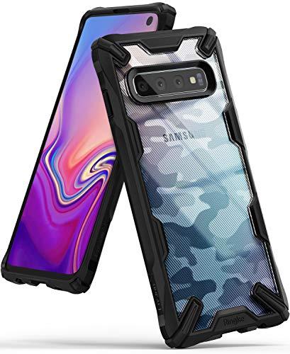 Ringke Fusion-X DDP fürs Galaxy S10 [Camo Black Schwarz] Verbessert Silikon TPU Stoßfest Black Rahmen Militär Muster Schutzhülle fürs S10