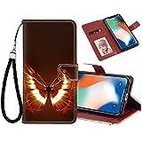 FAUNOW Funda tipo cartera para iPhone X/10/Xs, diseño de mariposa de fuego con función atril, ranuras para tarjetas y protección para iPhone X/10/Xs excelente