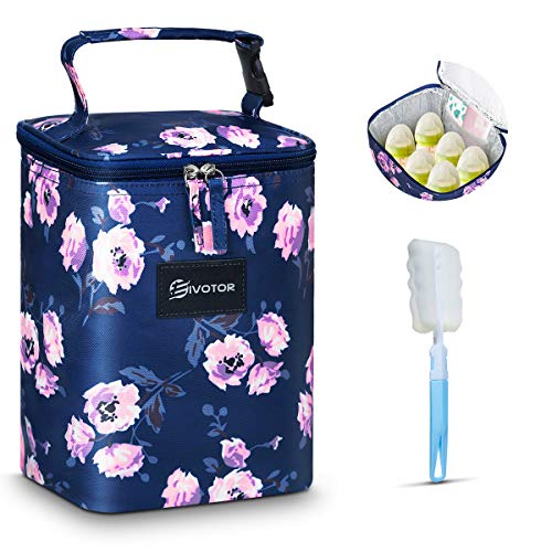 Insulated Breastmilk Cooler and Baby Bottle Bag, EIVOTOR Fit up to 6 Large 8oz Bottles and Ice Pack, Easy to Carry