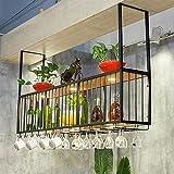 Estante para vino en el techo Estante para copas de vino negro Barra al revés Soporte decorativo para flores montado en la pared con luces Soporte para botellas de vino para el hogar (Tamaño: 150