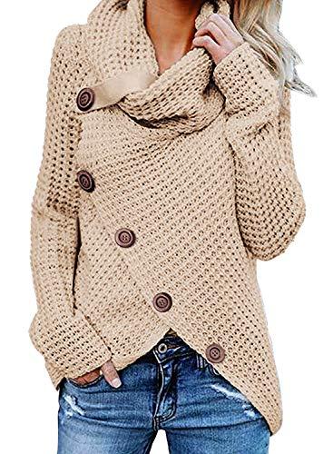 Yidarton Pullover Damen Warm Asymmetrische Strickpullover Rollkragenpullover Solid Wrap Gestrickt Langarmshirts Oberteile Causal (B-Khaki, M)