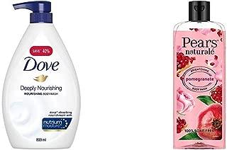 Dove Deeply Nourishing Body Wash, 800 ml & Pears Naturale Brightening Pomegranate Bodywash, 250 ml