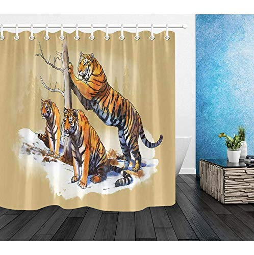 RTYRT 3D Printed Fabric Shower Curtain Tiger family bathroom curtain Waterproof Mould Proof Resistant(180 * 200cm)