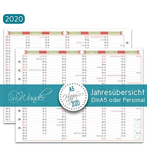 SinnWunder® 2020 Premium-Kalendereinlagen - Jahresplan - Leporello mit einem Halbjahr pro Seite - HappySinn - Din A5