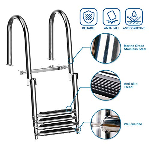 XGEAR 4 Step Pontoon Boat Ladder, Foldable Premium Stainless Steel Marine Yacht Ladder /Swim Deck Ladder with Pedal Hand Railing ,Slip-Proof Plastic Tread , Retaining Strap