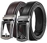 CHARS Men's belts GenuineLeather Ratchet belts for men Dress Belt with Click Sliding Buckle Size Adjustable, Elegant Gift Box