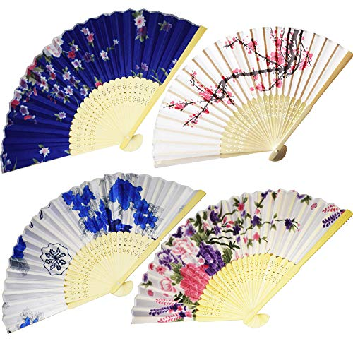 BESTZY Faltfächer Faltbar Handfächer Vintage 4 Stück Handfächer Fächer Mädchen für Wanddekoration Geschenke