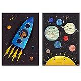 Lilcastle Kinder Bilder | 2er Set Poster Kinderzimmer Deko
