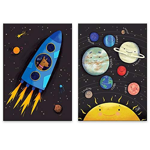 Lilcastle Kinder Bilder | 2er Set Poster Kinderzimmer Deko Junge Mädchen DIN A3 | Wunderbare Märchen Planeten des Sonnensystem | Weltraum Deko Planeten Rakete