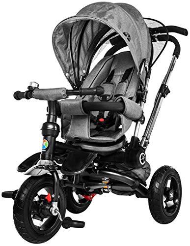 Miweba Kinderdreirad Schieber 7 in 1 Kinderwagen - Freilauf - Faltbar - Luftreifen - Heckfederung - Laufrad - Dreirad - Schubstange - Ab 1 Jahr (Hellgrau)