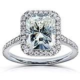 Radiant-cut Moissanite & Diamond Engagement Ring 3 Carat (ctw) in 14k White Gold