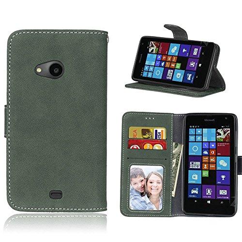 pinlu Hohe Qualität Retro Scrub PU Leder Etui Schutzhülle Für Nokia Microsoft Lumia 535 Lederhülle Flip Cover Brieftasche Mit Stand Function Innenschlitzen Design Grün