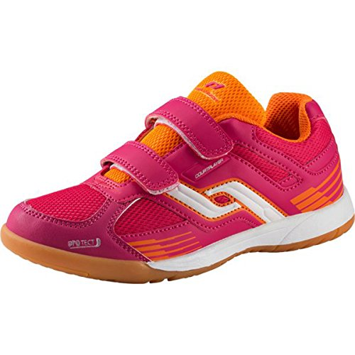 Pro Touch Indoor-Schuh Courtplayer Klett, Unisex-Kinder Multisport Indoor Schuhe, Rot (Rot/Orange 000), 33 EU (1 UK)