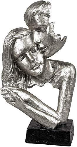 Lifestyle & More Exklusive Deko Büste Skulptur Liebespaar aus Keramik weiß/Silber Höhe 30 cm