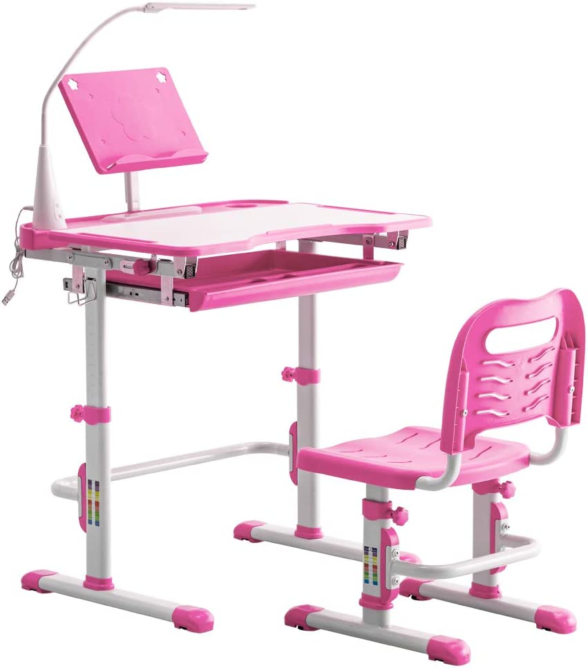 Kids Desk Long-awaited New color and Chair Set Chai Student Desks Adjustable Height