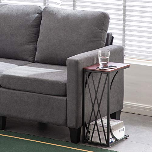 Sofa Side End Table, Coffee Table C-Type Table with Metal Frame, Over Bed Table Industrial Side Table for Sofa Couch Bed, Living Room, Bedroom