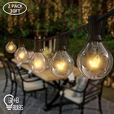 AVANLO 2 Pack 30Ft G40 Globe String Lights with 60 Clear Bulbs & 8 Spare Bulbs, Outdoor Patio Backyard Hanging Lights with 5.9Ft Extension Cord, Indoor Room Decor Lights, Weatherproof IP44, UL Listed