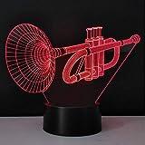 Nachttischlampen für Kinder Stereo-3D-Nachtlichter Trompete Schreibtischlampe LED-Leuchtlampe Neuheit Haushaltsleuchten Energiesparende USB-Kreativ-Gadget-Bastelarbeiten