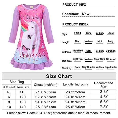 WonderBabe Girls Nightgown Pajamas Unicorn Sleep Dress Short Sleeve Kids Sleepwear Night Nightdress
