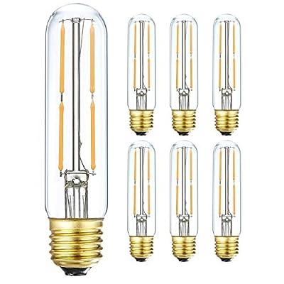 LEOOLS T10 Led Bulb, 4W Dimmable Led Tubular Bulbs, 40 Watt Incandescent Bulb Equivalent, Warm White 2700K, 400LM, Clear Glass, E26 Base Lamp Bulb, for Cabinet Display Cabinet etc,6 Pack.