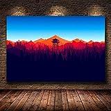 Wfmhra Juego Minimalista Bosque Pared Arte Lienzo Juego Cartel HD impresión decoración del hogar Pintura 50x75 cm sin Marco
