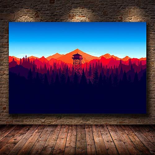 wZUN Juego de Videojuegos montañas Bosque Minimalista Pared Arte Lienzo Juego póster HD impresión decoración del hogar Pintura 60x90 Sin Marco
