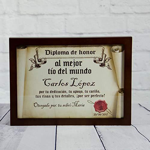 Calledelregalo Diplomas pergamino Personalizados para Todos los destinatarios (Al Mejor tío) con Marco
