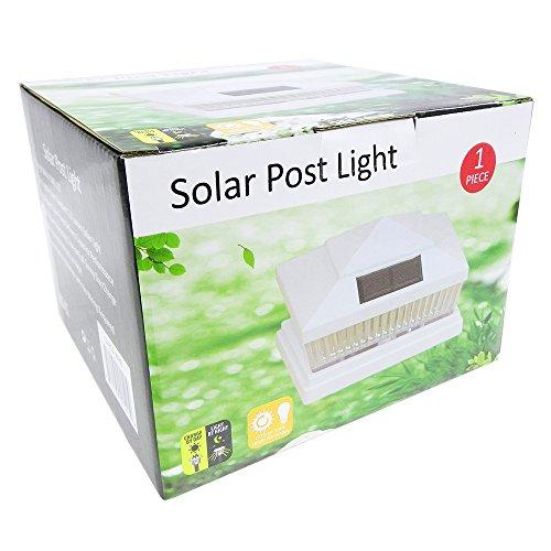 iGlow 4 Pack White Outdoor Garden 6 x 6 Solar SMD LED Post Deck Cap Square Fence Light Landscape PVC Vinyl Wood Bronze