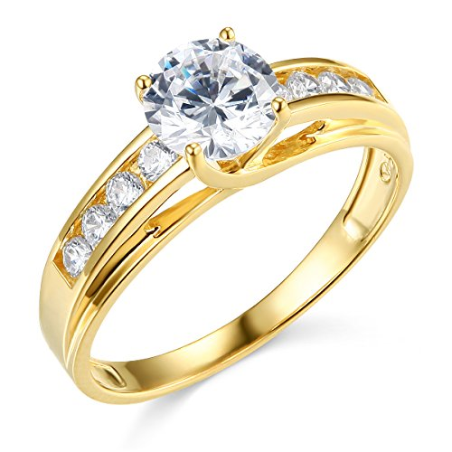 14k Yellow Gold SOLID Wedding Engagement Ring - Size 7