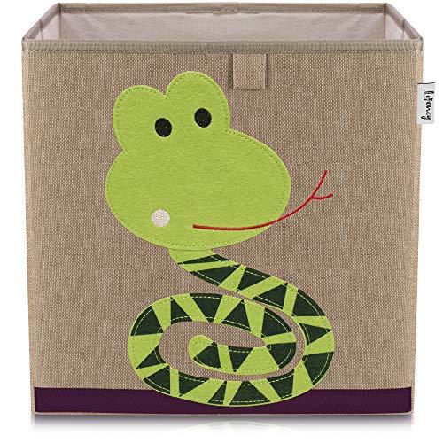 Lifeney Kinder Aufbewahrungsbox I praktische Aufbewahrungsbox für jedes Kinderzimmer I Kinder Spielkiste I Niedliche Spielzeugbox I Korb zur Aufbewahrung von Kinder Spielsachen (Schlange dunkel)